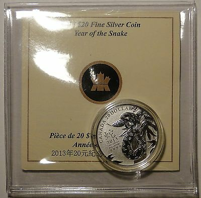 2013 $20 Dollar .9999 Fine Silver 'Year of Snake 蛇年' Commemmorative coin