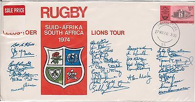 (OK-153) 1974 South Africa cover 5c rugby lions tour with signatures