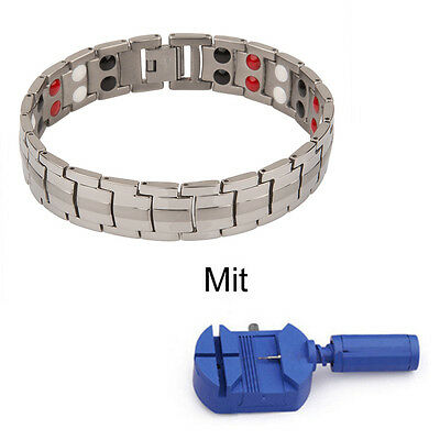 "8.46"" Power Energie Edelstahl 4In1 Magnetarmband Silber Ionen Germanium Armband"