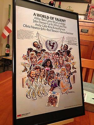 2 Big 11X17 Framed Abba Bee Gees Donna Summer Concert For Unicef Lp Cd Promo Ads