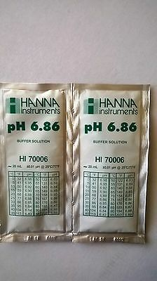 2  X HANNA PH METER BUFFER CALIBRATION SOLUTION SACHETS  HI 70006  6.86 pH