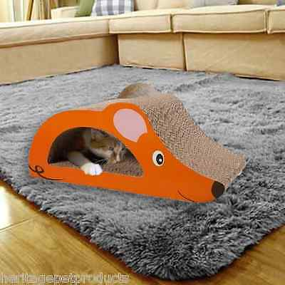 Heritage Cardboard Cat Scratcher Scratching Bed Pad Mouse Lounge & Free Cat Nip