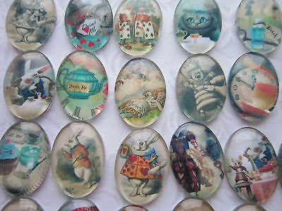 8 pcs Alice in wonderland Glass oval Cabochons 18 x 25 mm findings jewellery
