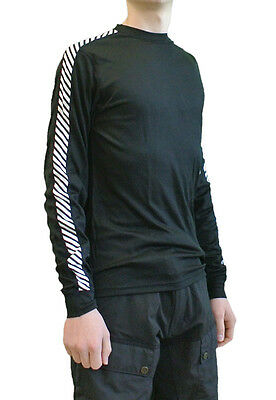 Helly Hansen Dry Stripe Crew, Mens Synthetic Base Layer, Black
