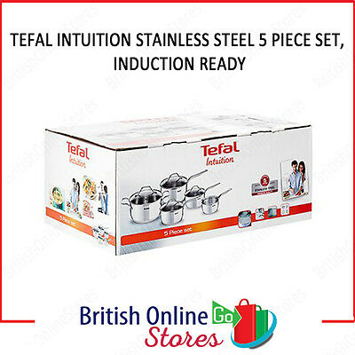 Tefal Intuition Induction 5 Piece Frying Pan Set Stainless Steel A702S544 - NEW!