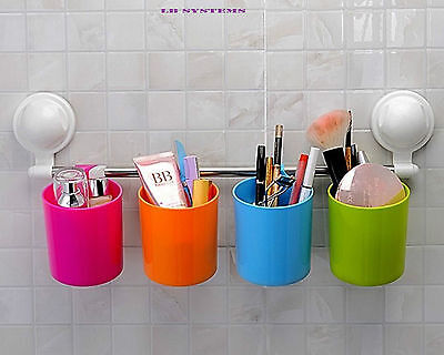 Cup Rack with Suction Cup Handy Rail - Trendy Multi-Colour Holding Cups