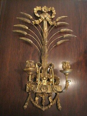 Vintage Hollywood Regency Style Wall Candelabra, Made in Italy 27""