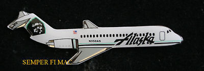 Alaska Airlines Md-80 Jet Hat Lapel Pin Pilot Flight Crew Made In The Usa Gift