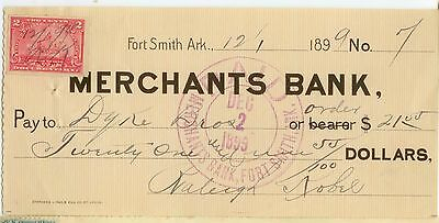 1899 Fort Smith Arkansas Merchants Bank check with revenue