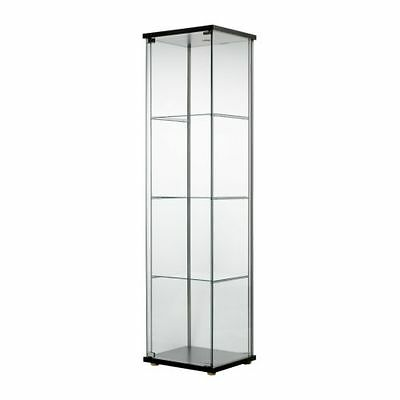Glass Door Display Cabinet Black Brown Retail Boutique Jewelry Showcase IKEA NEW