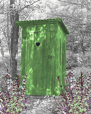 Green Gray Wall Art Photo Print Vintage Outhouse Home Bath Decor Bathroom Pict.