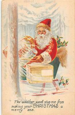 Merry Christmas Santa In Sleigh Holly Snow Forest Antique Postcard K22599