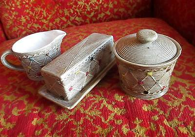 Vtg Numbered Hand Painted Porcleain Butter Dish Sugar Creamer Set