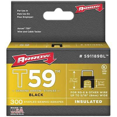 """Arrow Fasteners 591189BL T59 5/16"""" x 5/16"""" Black Insulated Staples, 300-Pack"""