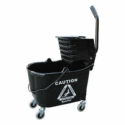 SunnyCare® 35qt Mop Bucket with Wringer: Side Press -Plastic -Black -NEW