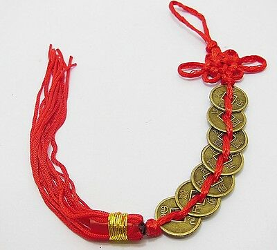 2 X Chinese Fengshui 7-Emperor Coins with Tassel For Wealth