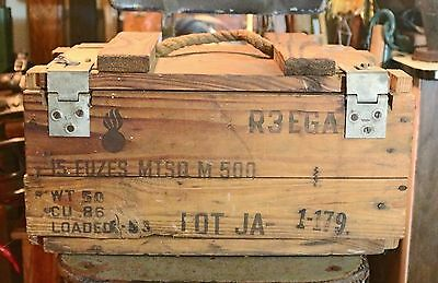 Vintage Wooden Ammo Crate with Rope Handle & Metal Latches / Detonating Fuzes