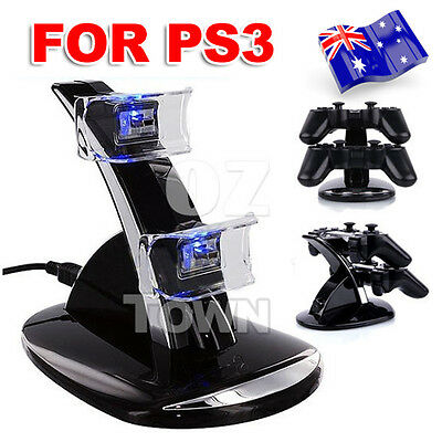 Blue LED USB Dual Dock Charging Station For Sony PS3 Controller Charger Wireless