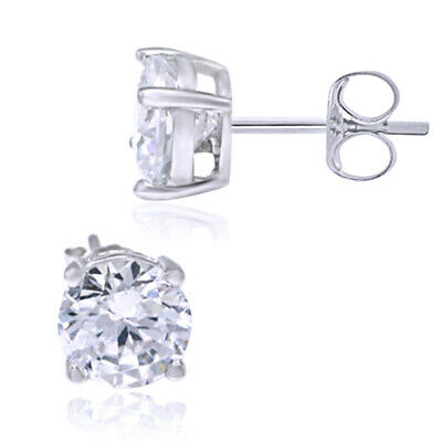Stud Earrings Round Cut Simulated Diamond 14K White Gold Over Women