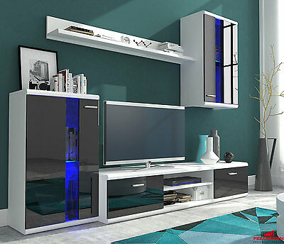 wohnzimmerwand wohnwand starlet eiche s gegrau dekor mit led beleuchtung eur 398 00 picclick de. Black Bedroom Furniture Sets. Home Design Ideas