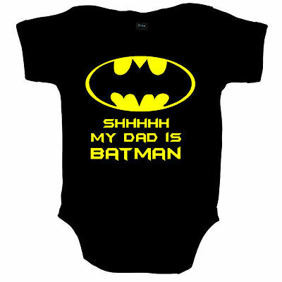 Shh My Dad Is Batman Funny Superhero Baby Grow Vest Shower Gift- Free Uk Postage