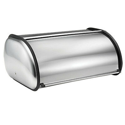 Stainless Steel Silver Roll Top Bread Loaf Bin Kitchen Dining Food Storage Box