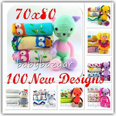 3-10pack 100% COTTON BABY MUSLIN SQUARES CLOTH 70x80 REUSABLE NAPPY BABY SHOWER