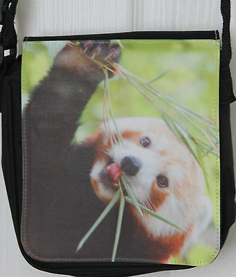 Small Shoulder Bag with Red Panda photo print. Free UK postage