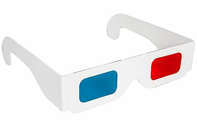 3D Glasses Red/Blue Cyan Paper Card 3-D Anaglyph Glasses White - 1 PAIR