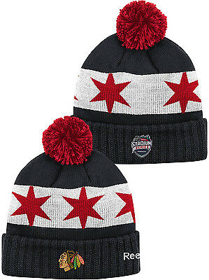 78d8c257573d7c Chicago Blackhawks 2016 Stadium Series Cuffed Knit Hat with Pom NHL Beanie
