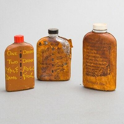 Lot of 3 Antique Liquor Hip Flask Bottles with Leather Wraps Funny Poem Embossed