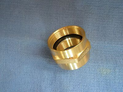 "HEX BRASS FIRE HOSE ADAPTER 1-1/2"" FNST X 1-1/2"" FIPT Double Female  #FFH1515F"