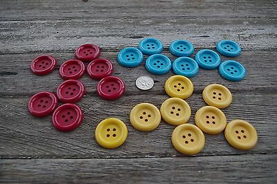 """LOT of 24 Large BIG Red Blue Yellow Nylon Sew-through 1.5""""  Buttons 1 1/2"""" NEW"""