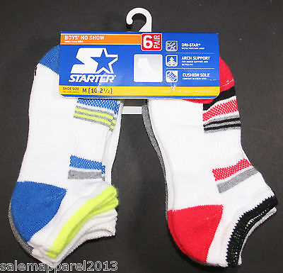 Boy's Socks No Show STARTER 6-Pack Dri-Star Assorted Size Med Shoe Size 10-2-1/2