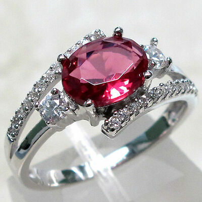 Elegant 2 Ct Ruby 925 Sterling Silver Ring Size 5-10