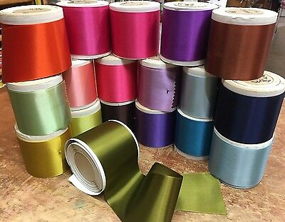 "VINTAGE 3"" Antique RAYON Blend Double Sided Satin Ribbon 1yd Made in France"
