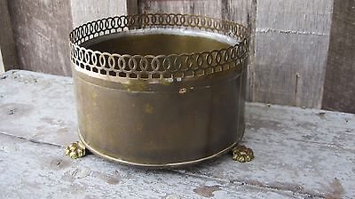 Petite Vintage Mid Century Paw Claw Foot Brass Planter Small Home & Garden Pot
