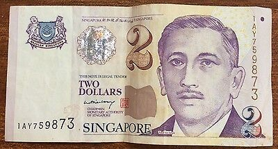 1999 $2 Singapore Banknote circulated condition