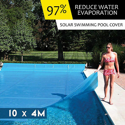 NEW SWIMMING POOL COVER & ROLLER Solar Bubble Blanket Reel Wheels Adjustable 5M