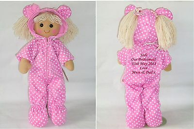 Personalised Rag Doll Bridesmaid, Flower Girl Wedding Gift Pink All in One
