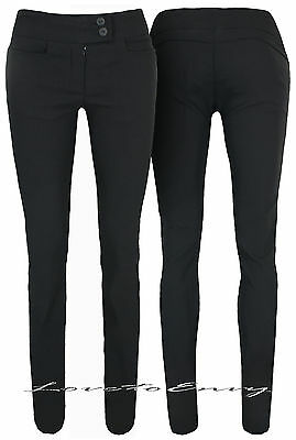 LADIES TROUSERS QUALITY BLACK FITTED BOOT CUT TROUSERS  6-14 /& 3 LEG LENGTHS.