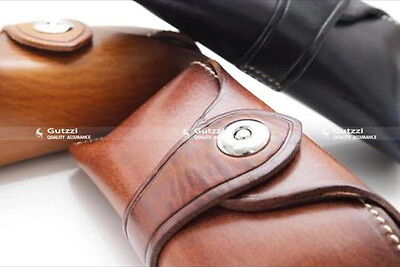 GENUINE Leather TAN Sunglasses HARD CASE MAGNETIC Silver CLASP Vtg INSPIRED