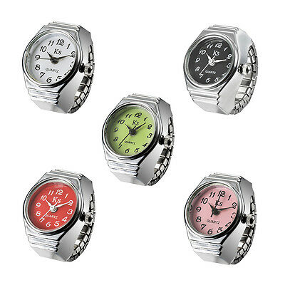 Elegance Stainless Steel Elastic Flexible Finger Ring Watch Quartz Lady Women