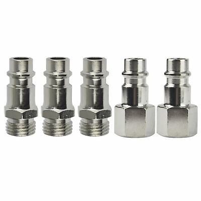 Euro Air Line Hose Compressor Fittings Connector Male Quick Release 5 PACK 1/4""