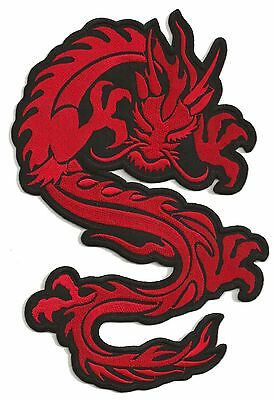 Ecusson dorsal brodé thermocollant patche dragon rouge grand patch dos