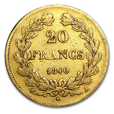1830-1848 France Gold 20 Francs Louis Philippe I Avg Circ - SKU #56661