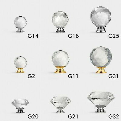 Large Selection Crystal Glass Furniture Cabinet Kitchen Cupboard Door Knobs Pull
