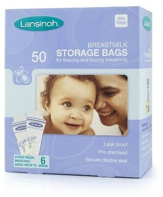50 Breast Milk Storage Bags Freezer Lansinoh Baby Leak Proof Secure Seal