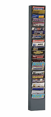 Durham Manufacturing 23 Pocket Rolled Con-Tur Vertical Literature Rack Gray