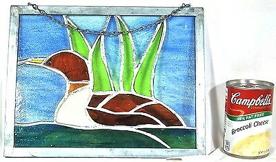 Stained Leaded Glass Loon Bird Sun Catcher Wall hanging Hand Crafted